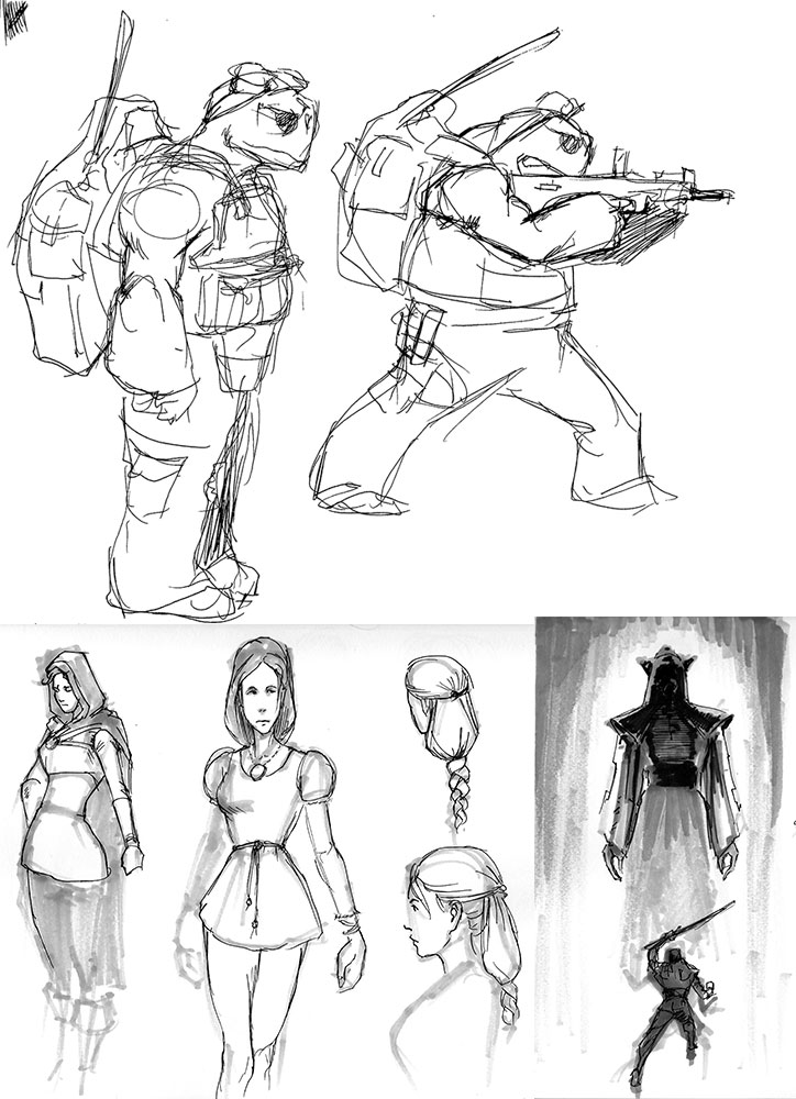 Character Design Environment : Some more character designs and environment thumbs